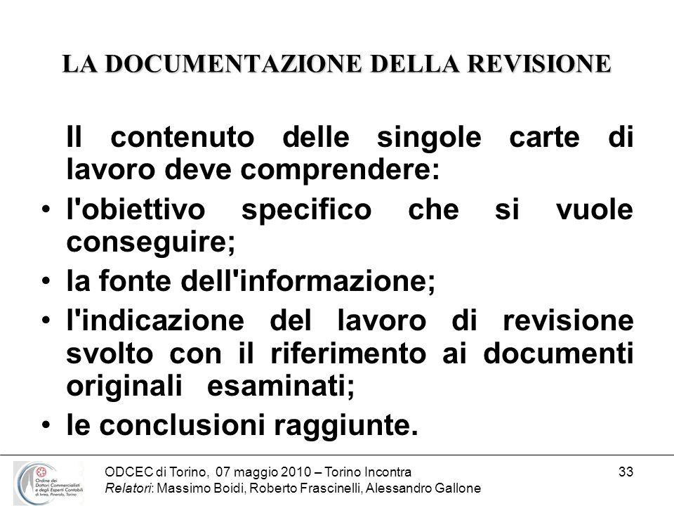 ODCEC di Torino, 07 maggio 2010 – Torino Incontra Relatori: Massimo Boidi, Roberto Frascinelli, Alessandro Gallone 33 LA DOCUMENTAZIONE DELLA REVISION
