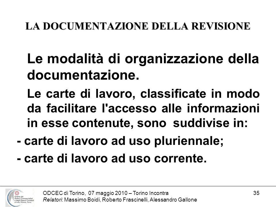 ODCEC di Torino, 07 maggio 2010 – Torino Incontra Relatori: Massimo Boidi, Roberto Frascinelli, Alessandro Gallone 35 LA DOCUMENTAZIONE DELLA REVISION