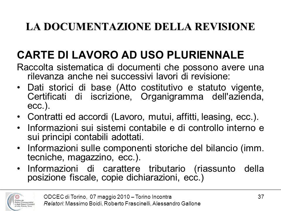 ODCEC di Torino, 07 maggio 2010 – Torino Incontra Relatori: Massimo Boidi, Roberto Frascinelli, Alessandro Gallone 37 LA DOCUMENTAZIONE DELLA REVISION
