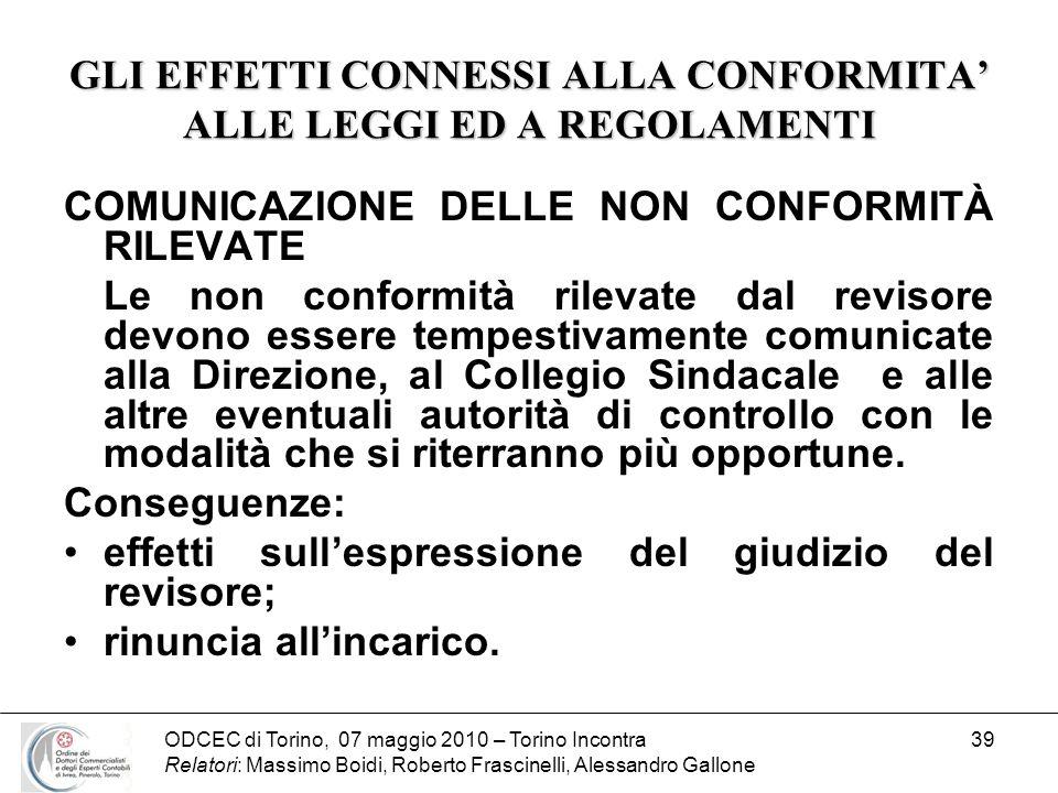 ODCEC di Torino, 07 maggio 2010 – Torino Incontra Relatori: Massimo Boidi, Roberto Frascinelli, Alessandro Gallone 39 GLI EFFETTI CONNESSI ALLA CONFOR
