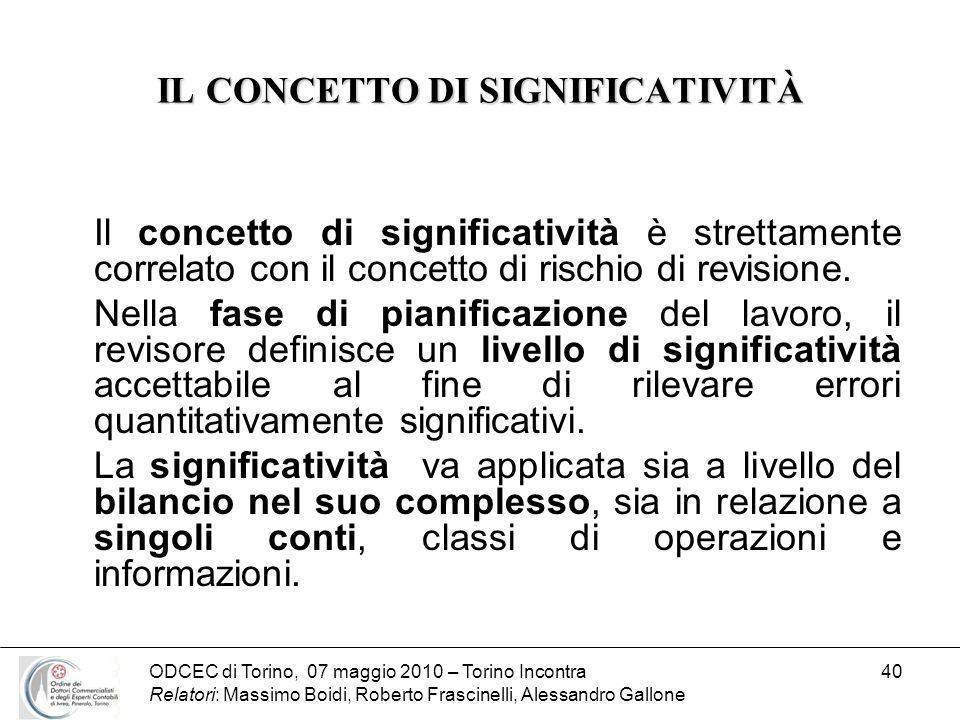 ODCEC di Torino, 07 maggio 2010 – Torino Incontra Relatori: Massimo Boidi, Roberto Frascinelli, Alessandro Gallone 40 IL CONCETTO DI SIGNIFICATIVITÀ I