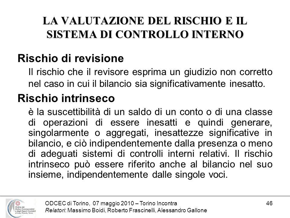 ODCEC di Torino, 07 maggio 2010 – Torino Incontra Relatori: Massimo Boidi, Roberto Frascinelli, Alessandro Gallone 46 LA VALUTAZIONE DEL RISCHIO E IL