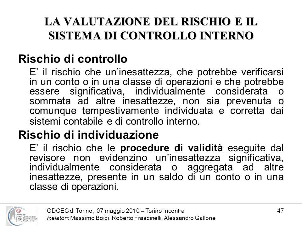 ODCEC di Torino, 07 maggio 2010 – Torino Incontra Relatori: Massimo Boidi, Roberto Frascinelli, Alessandro Gallone 47 LA VALUTAZIONE DEL RISCHIO E IL