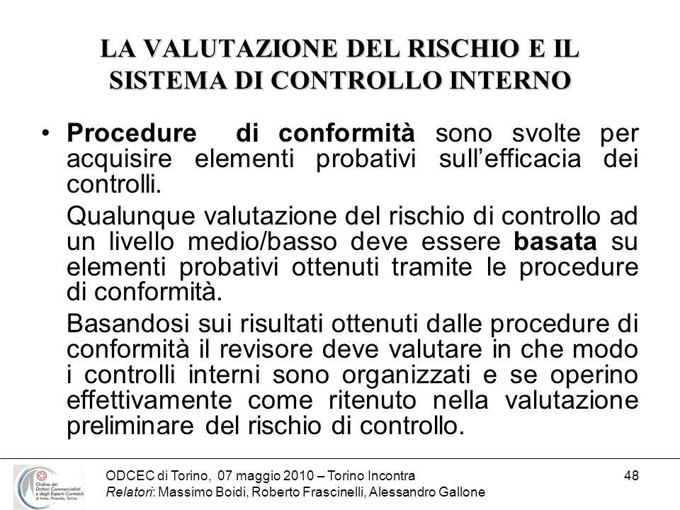 ODCEC di Torino, 07 maggio 2010 – Torino Incontra Relatori: Massimo Boidi, Roberto Frascinelli, Alessandro Gallone 48 LA VALUTAZIONE DEL RISCHIO E IL
