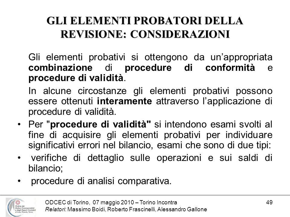 ODCEC di Torino, 07 maggio 2010 – Torino Incontra Relatori: Massimo Boidi, Roberto Frascinelli, Alessandro Gallone 49 GLI ELEMENTI PROBATORI DELLA REV
