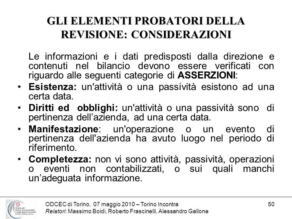 ODCEC di Torino, 07 maggio 2010 – Torino Incontra Relatori: Massimo Boidi, Roberto Frascinelli, Alessandro Gallone 50 GLI ELEMENTI PROBATORI DELLA REV