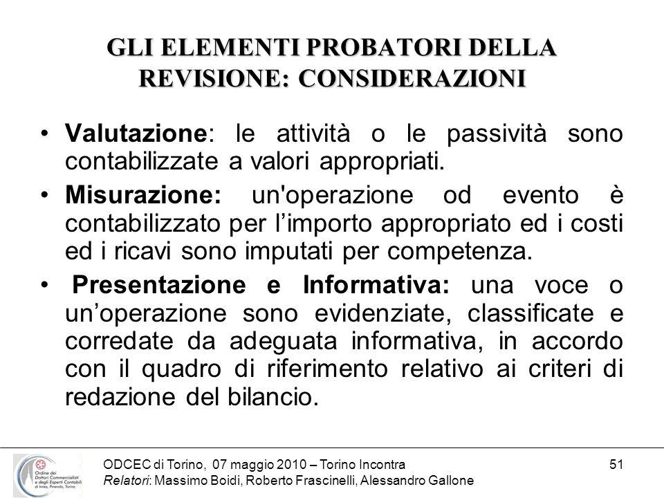 ODCEC di Torino, 07 maggio 2010 – Torino Incontra Relatori: Massimo Boidi, Roberto Frascinelli, Alessandro Gallone 51 GLI ELEMENTI PROBATORI DELLA REV