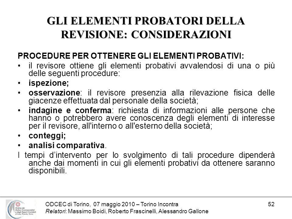 ODCEC di Torino, 07 maggio 2010 – Torino Incontra Relatori: Massimo Boidi, Roberto Frascinelli, Alessandro Gallone 52 GLI ELEMENTI PROBATORI DELLA REV