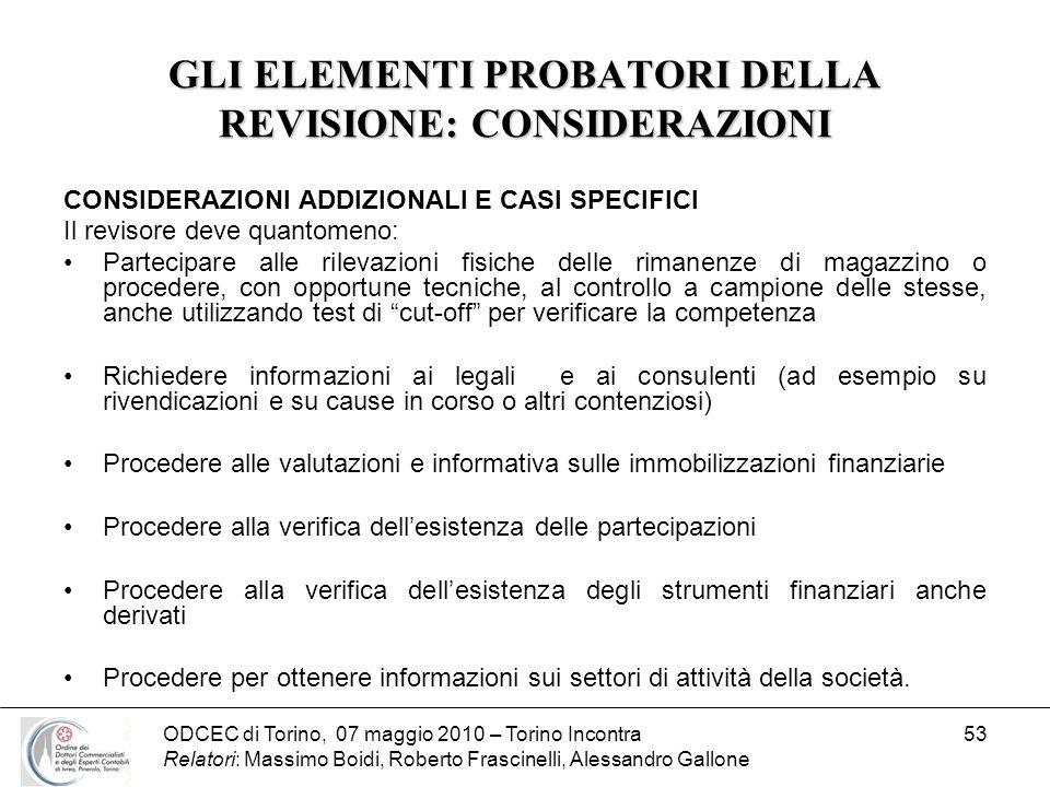 ODCEC di Torino, 07 maggio 2010 – Torino Incontra Relatori: Massimo Boidi, Roberto Frascinelli, Alessandro Gallone 53 GLI ELEMENTI PROBATORI DELLA REV