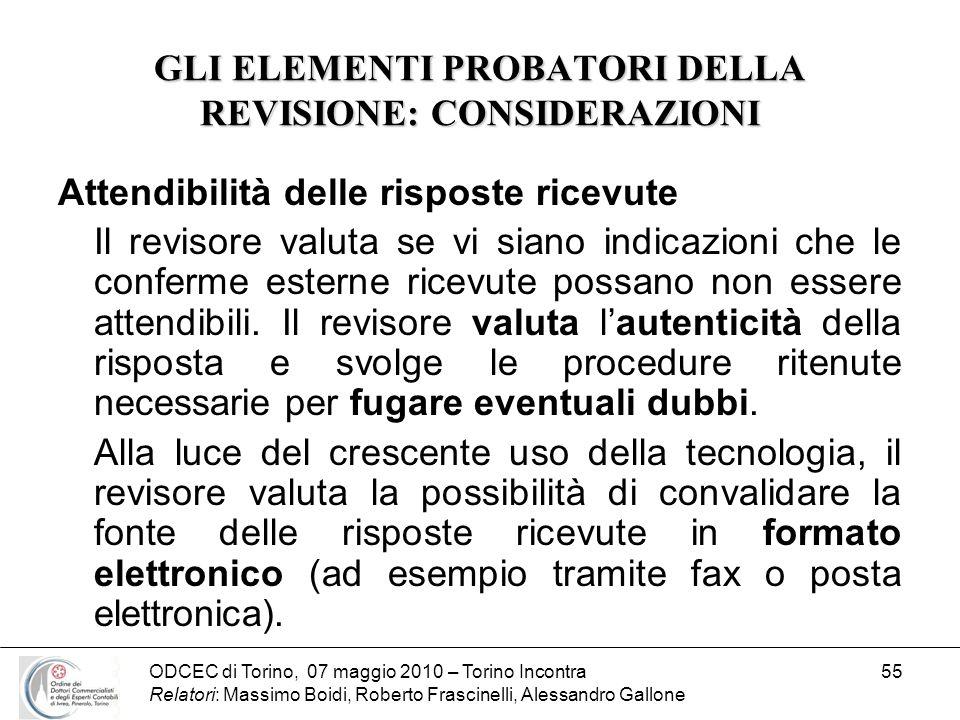 ODCEC di Torino, 07 maggio 2010 – Torino Incontra Relatori: Massimo Boidi, Roberto Frascinelli, Alessandro Gallone 55 GLI ELEMENTI PROBATORI DELLA REV