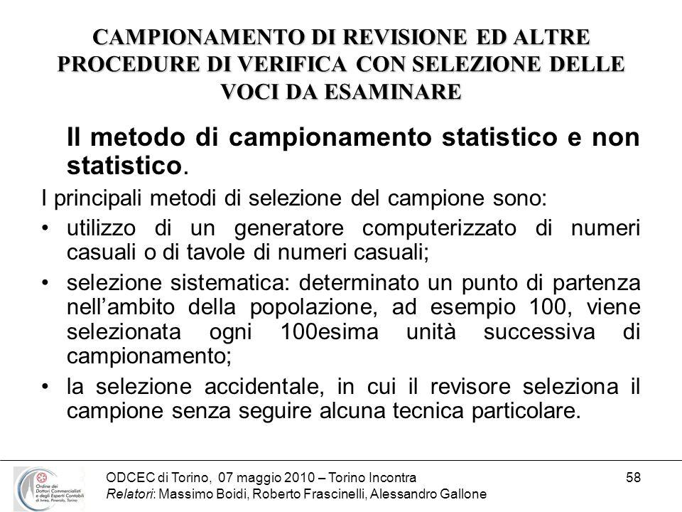 ODCEC di Torino, 07 maggio 2010 – Torino Incontra Relatori: Massimo Boidi, Roberto Frascinelli, Alessandro Gallone 58 CAMPIONAMENTO DI REVISIONE ED AL