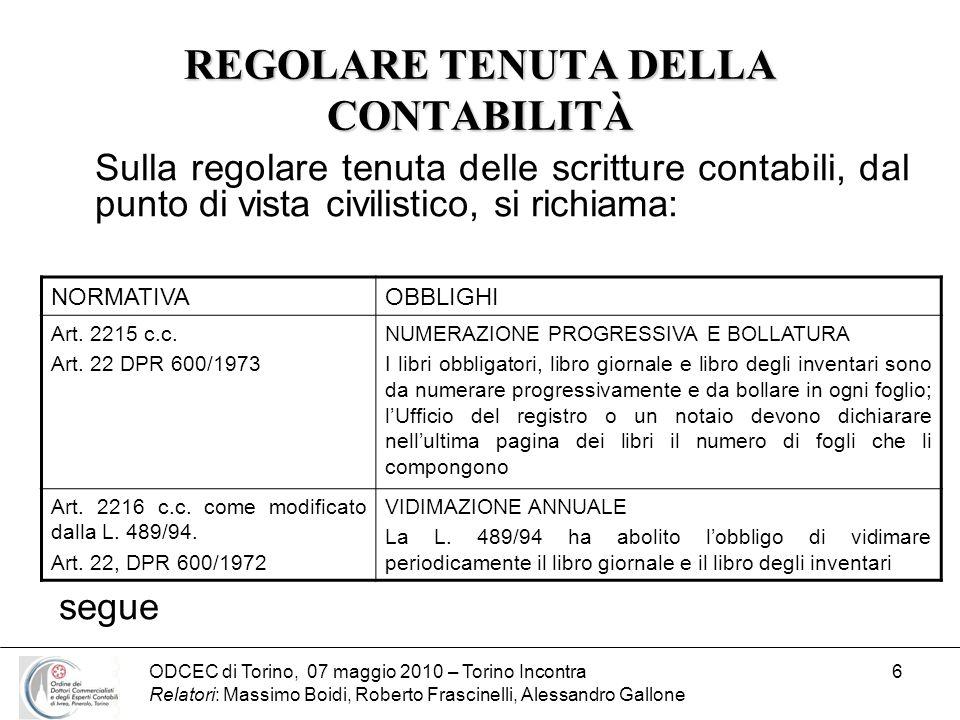 ODCEC di Torino, 07 maggio 2010 – Torino Incontra Relatori: Massimo Boidi, Roberto Frascinelli, Alessandro Gallone 6 REGOLARE TENUTA DELLA CONTABILITÀ