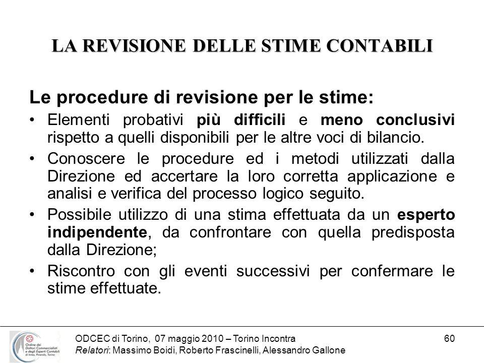 ODCEC di Torino, 07 maggio 2010 – Torino Incontra Relatori: Massimo Boidi, Roberto Frascinelli, Alessandro Gallone 60 LA REVISIONE DELLE STIME CONTABI