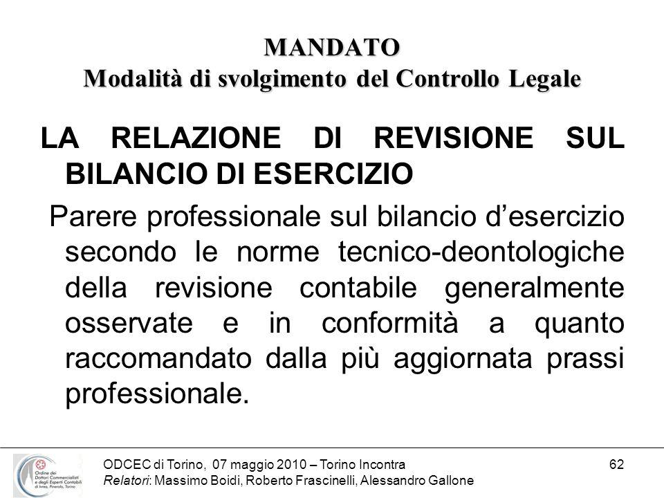 ODCEC di Torino, 07 maggio 2010 – Torino Incontra Relatori: Massimo Boidi, Roberto Frascinelli, Alessandro Gallone 62 MANDATO Modalità di svolgimento