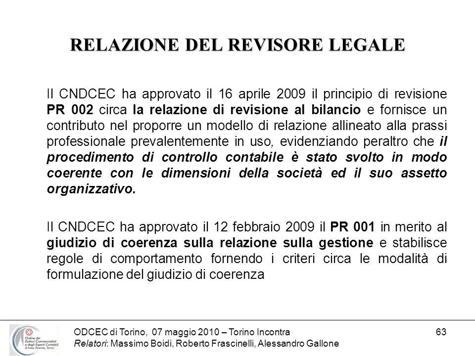 ODCEC di Torino, 07 maggio 2010 – Torino Incontra Relatori: Massimo Boidi, Roberto Frascinelli, Alessandro Gallone 63 RELAZIONE DEL REVISORE LEGALE Il