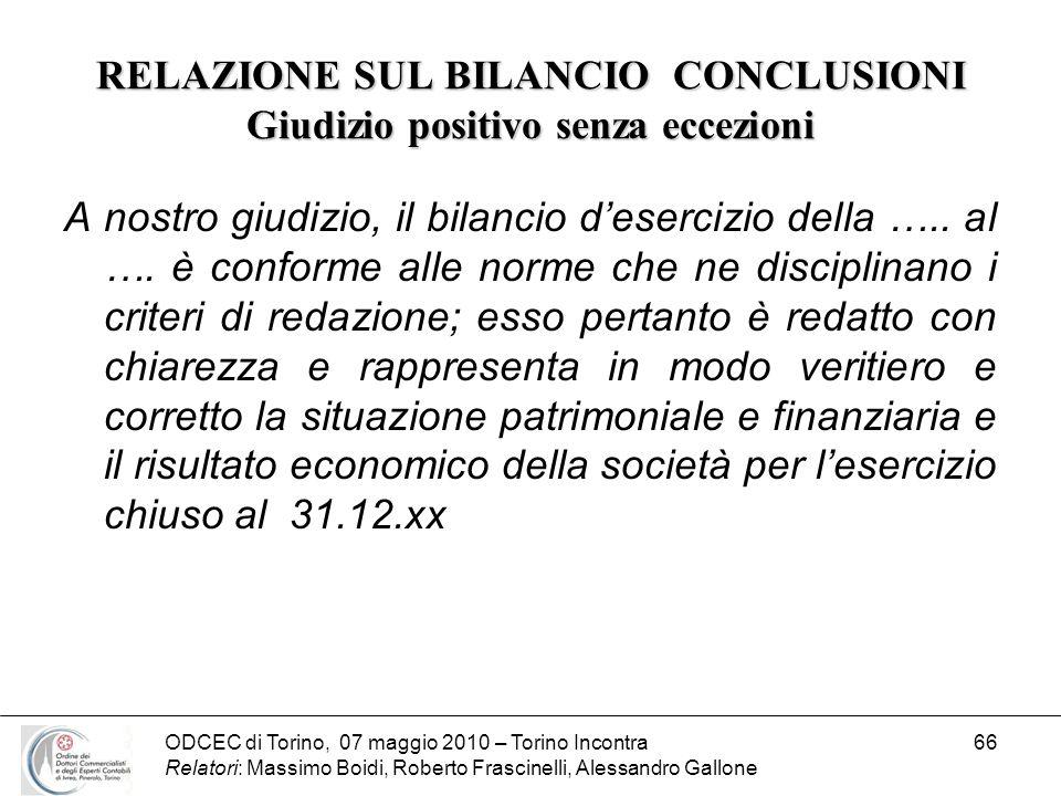 ODCEC di Torino, 07 maggio 2010 – Torino Incontra Relatori: Massimo Boidi, Roberto Frascinelli, Alessandro Gallone 66 RELAZIONE SUL BILANCIO CONCLUSIO