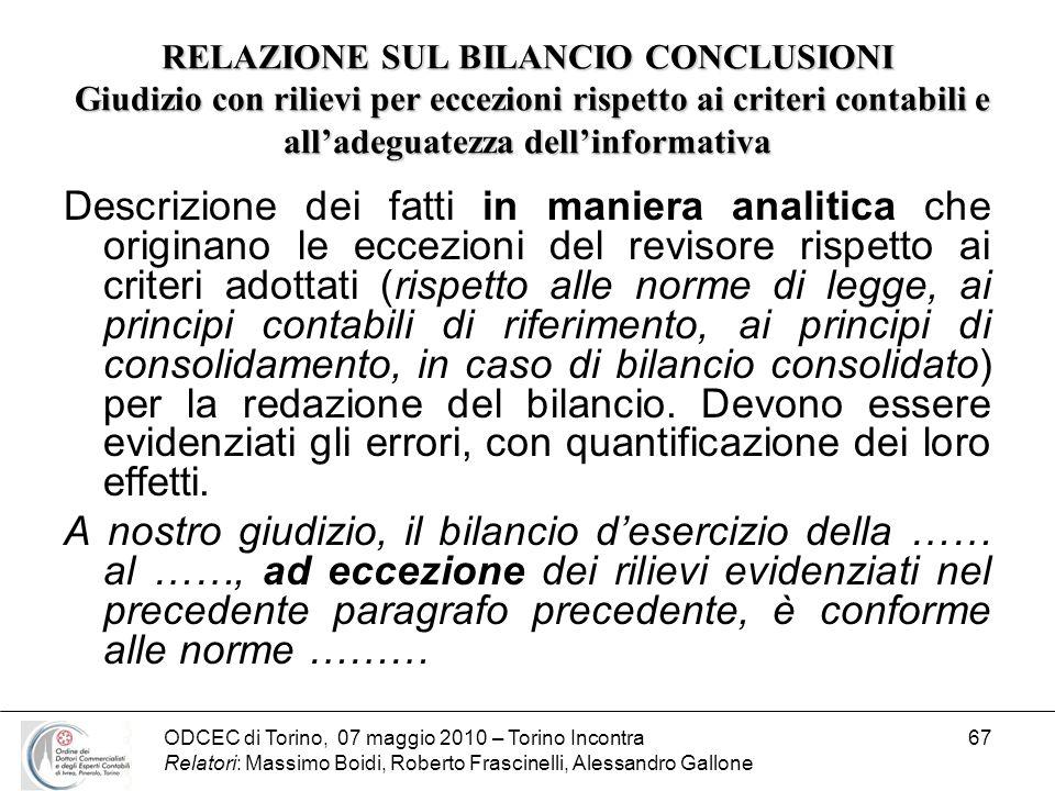 ODCEC di Torino, 07 maggio 2010 – Torino Incontra Relatori: Massimo Boidi, Roberto Frascinelli, Alessandro Gallone 67 RELAZIONE SUL BILANCIO CONCLUSIO