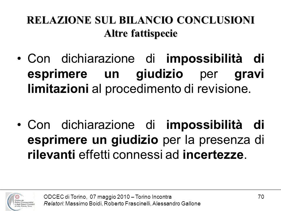 ODCEC di Torino, 07 maggio 2010 – Torino Incontra Relatori: Massimo Boidi, Roberto Frascinelli, Alessandro Gallone 70 RELAZIONE SUL BILANCIO CONCLUSIO