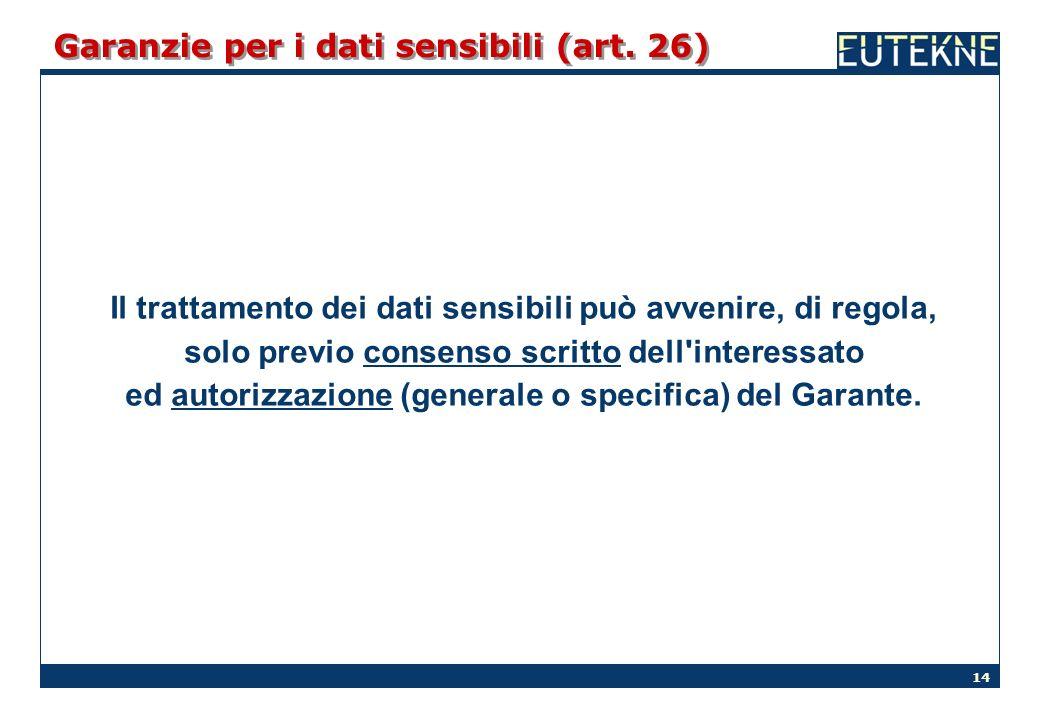 14 Garanzie per i dati sensibili (art. 26) Il trattamento dei dati sensibili può avvenire, di regola, solo previo consenso scritto dell'interessato ed