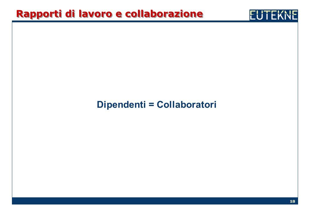 18 Rapporti di lavoro e collaborazione Dipendenti = Collaboratori