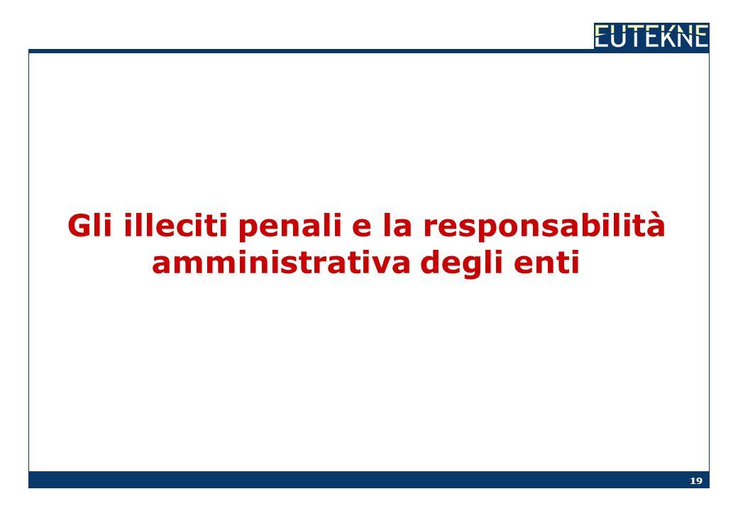 19 Gli illeciti penali e la responsabilità amministrativa degli enti