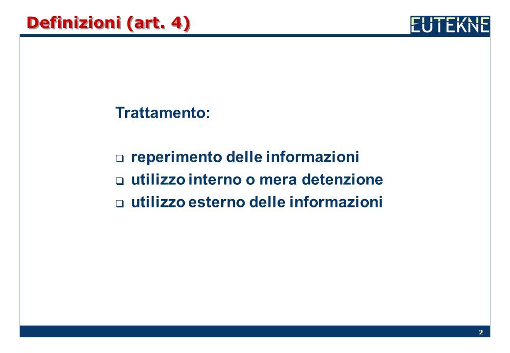 2 Definizioni (art. 4) Trattamento: reperimento delle informazioni utilizzo interno o mera detenzione utilizzo esterno delle informazioni