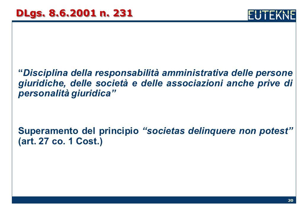 20 DLgs. 8.6.2001 n. 231 Disciplina della responsabilità amministrativa delle persone giuridiche, delle società e delle associazioni anche prive di pe