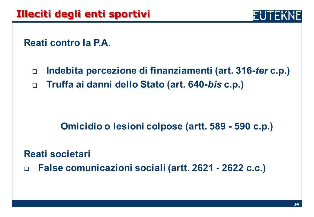 24 Illeciti degli enti sportivi Reati contro la P.A. Indebita percezione di finanziamenti (art. 316-ter c.p.) Truffa ai danni dello Stato (art. 640-bi