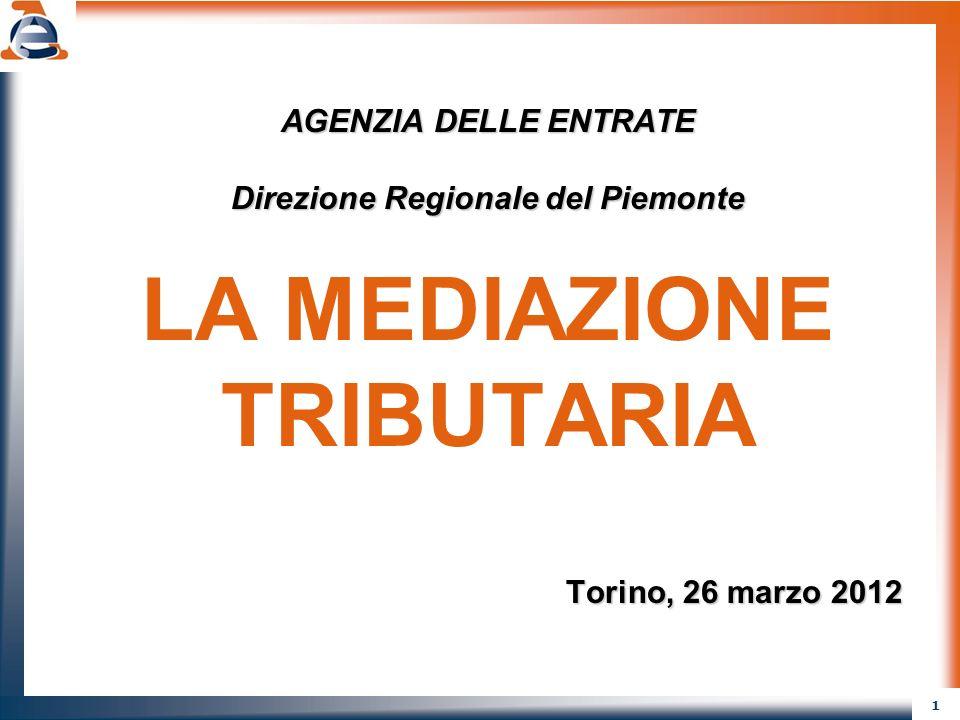 1 AGENZIA DELLE ENTRATE Direzione Regionale del Piemonte LA MEDIAZIONE TRIBUTARIA Torino, 26 marzo 2012