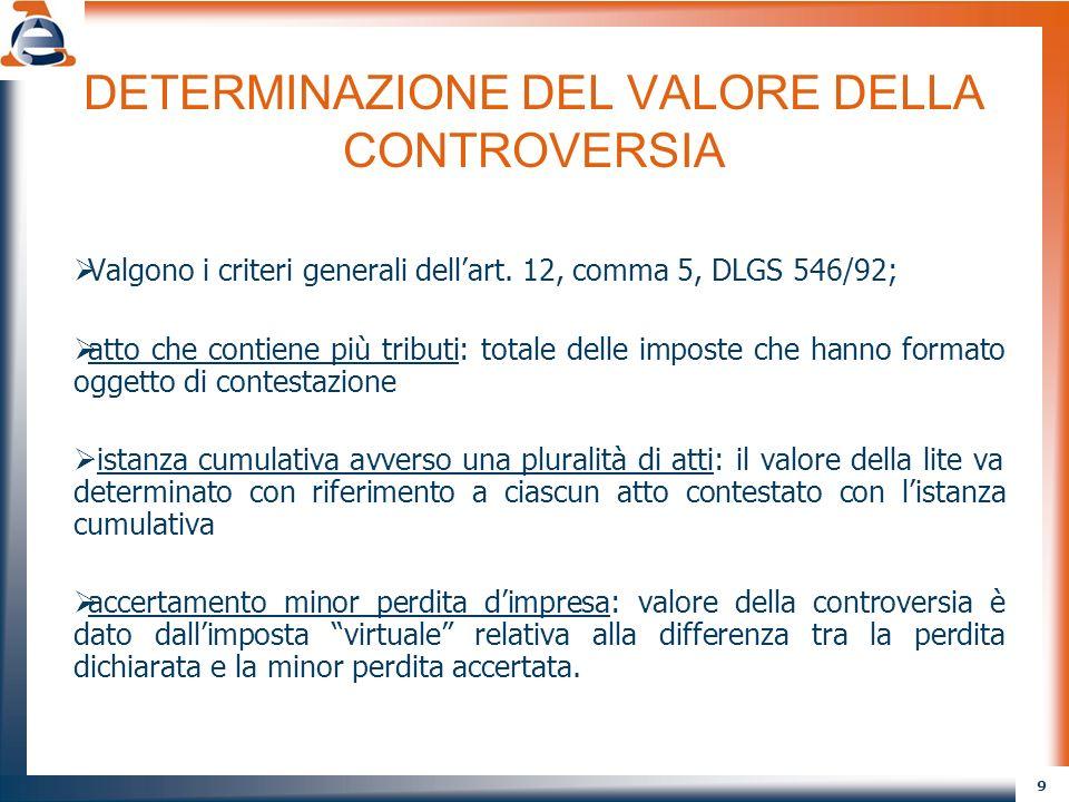 9 DETERMINAZIONE DEL VALORE DELLA CONTROVERSIA Valgono i criteri generali dellart.