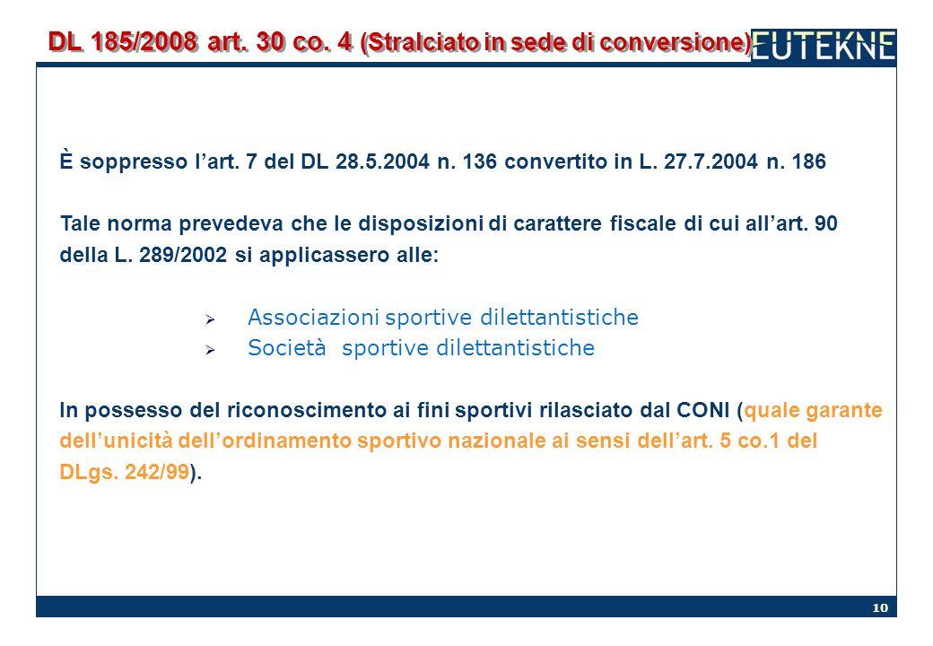 10 DL 185/2008 art. 30 co. 4 (Stralciato in sede di conversione) È soppresso lart. 7 del DL 28.5.2004 n. 136 convertito in L. 27.7.2004 n. 186 Tale no