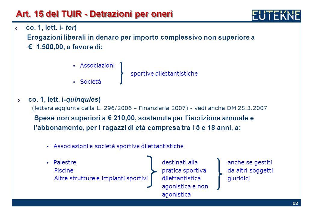 12 Art. 15 del TUIR - Detrazioni per oneri o co. 1, lett. i- ter) Erogazioni liberali in denaro per importo complessivo non superiore a 1.500,00, a fa