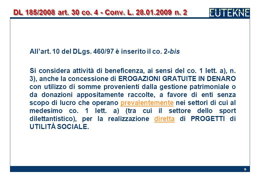 9 DL 185/2008 art. 30 co. 4 - Conv. L. 28.01.2009 n. 2 Allart. 10 del DLgs. 460/97 è inserito il co. 2-bis Si considera attività di beneficenza, ai se