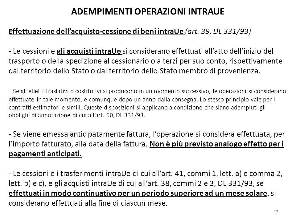 ADEMPIMENTI OPERAZIONI INTRAUE Effettuazione dellacquisto-cessione di beni intraUe (art. 39, DL 331/93) - Le cessioni e gli acquisti intraUe si consid