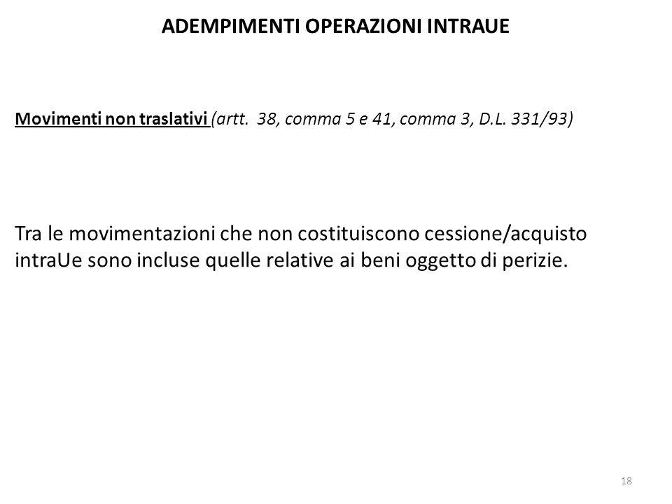 ADEMPIMENTI OPERAZIONI INTRAUE Movimenti non traslativi (artt. 38, comma 5 e 41, comma 3, D.L. 331/93) Tra le movimentazioni che non costituiscono ces