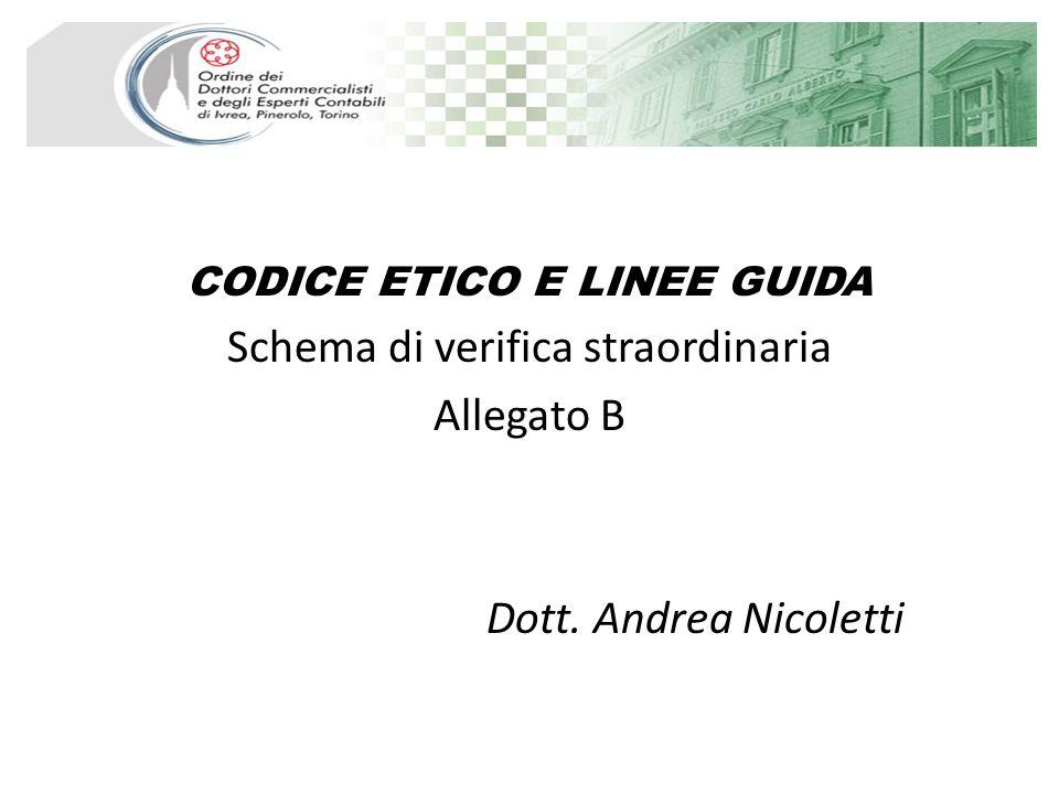 CODICE ETICO E LINEE GUIDA Schema di verifica straordinaria Allegato B Dott. Andrea Nicoletti