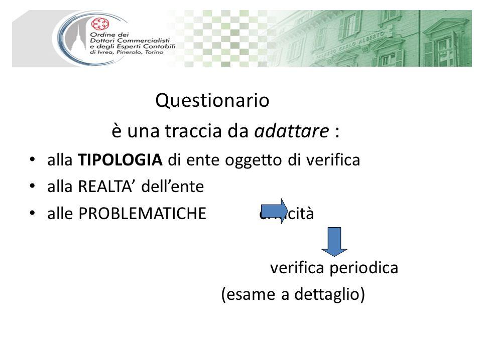 Questionario è una traccia da adattare : alla TIPOLOGIA di ente oggetto di verifica alla REALTA dellente alle PROBLEMATICHE criticità verifica periodica (esame a dettaglio)