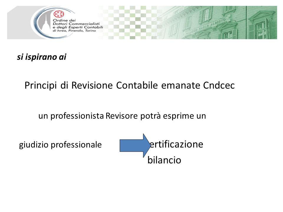 si ispirano ai Principi di Revisione Contabile emanate Cndcec un professionista Revisore potrà esprime un giudizio professionale certificazione bilancio
