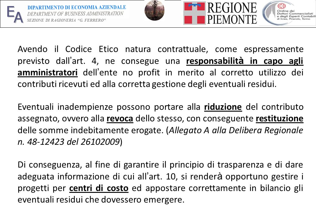 E A SEZIONE DI RAGIONERIA G.