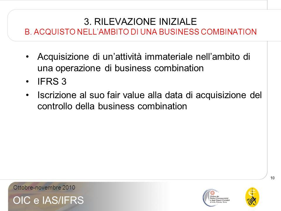 10 Ottobre-novembre 2010 OIC e IAS/IFRS 3. RILEVAZIONE INIZIALE B. ACQUISTO NELLAMBITO DI UNA BUSINESS COMBINATION Acquisizione di unattività immateri