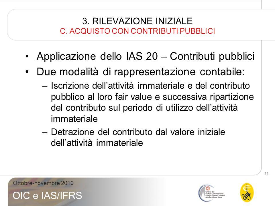 11 Ottobre-novembre 2010 OIC e IAS/IFRS 3. RILEVAZIONE INIZIALE C. ACQUISTO CON CONTRIBUTI PUBBLICI Applicazione dello IAS 20 – Contributi pubblici Du