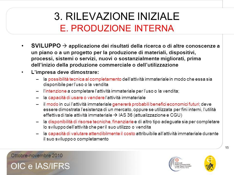 15 Ottobre-novembre 2010 OIC e IAS/IFRS 3. RILEVAZIONE INIZIALE E. PRODUZIONE INTERNA SVILUPPO applicazione dei risultati della ricerca o di altre con