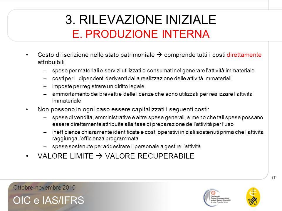 17 Ottobre-novembre 2010 OIC e IAS/IFRS 3. RILEVAZIONE INIZIALE E. PRODUZIONE INTERNA Costo di iscrizione nello stato patrimoniale comprende tutti i c