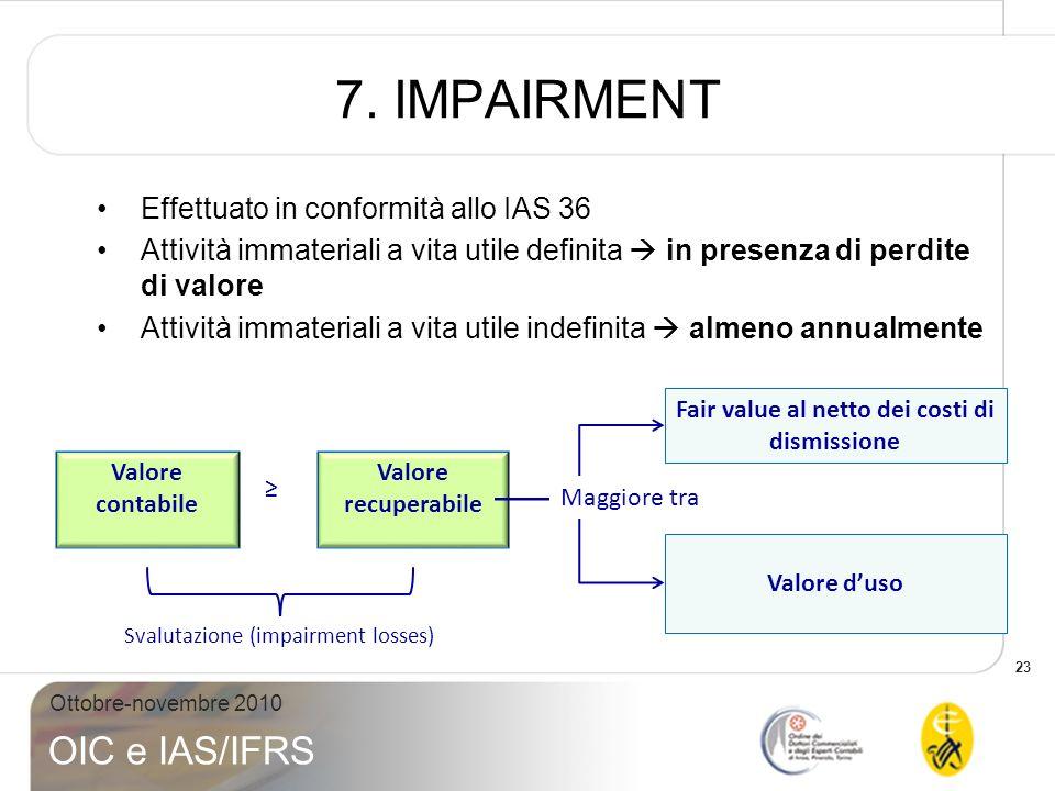 23 Ottobre-novembre 2010 OIC e IAS/IFRS 7. IMPAIRMENT Effettuato in conformità allo IAS 36 Attività immateriali a vita utile definita in presenza di p