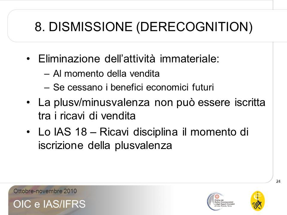 24 Ottobre-novembre 2010 OIC e IAS/IFRS 8. DISMISSIONE (DERECOGNITION) Eliminazione dellattività immateriale: –Al momento della vendita –Se cessano i