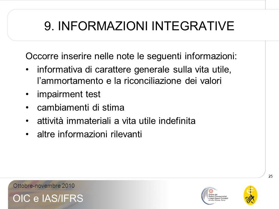 25 Ottobre-novembre 2010 OIC e IAS/IFRS 9. INFORMAZIONI INTEGRATIVE Occorre inserire nelle note le seguenti informazioni: informativa di carattere gen
