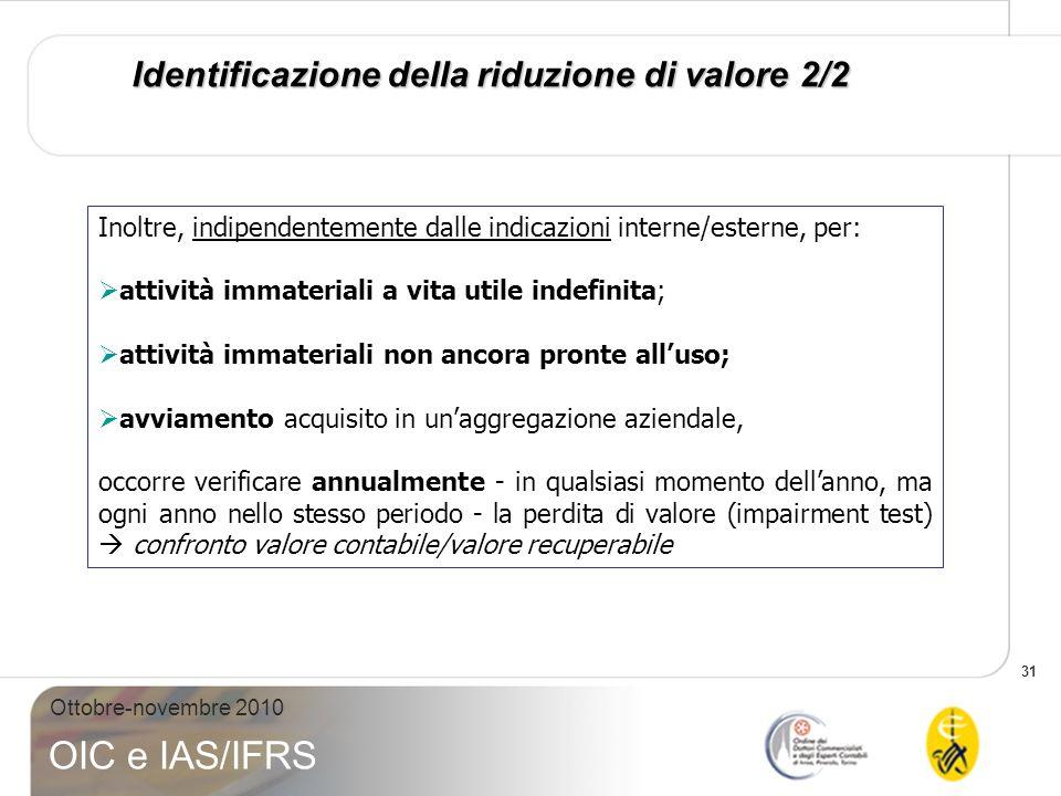 31 Ottobre-novembre 2010 OIC e IAS/IFRS Identificazione della riduzione di valore 2/2 Inoltre, indipendentemente dalle indicazioni interne/esterne, pe