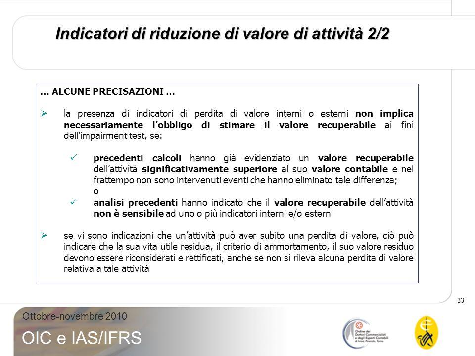 33 Ottobre-novembre 2010 OIC e IAS/IFRS Indicatori di riduzione di valore di attività 2/2 … ALCUNE PRECISAZIONI … la presenza di indicatori di perdita