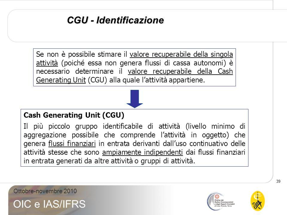 39 Ottobre-novembre 2010 OIC e IAS/IFRS CGU - Identificazione Se non è possibile stimare il valore recuperabile della singola attività (poiché essa no