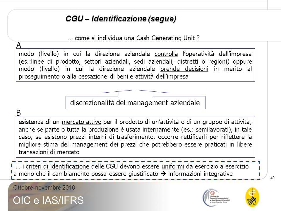 40 Ottobre-novembre 2010 OIC e IAS/IFRS modo (livello) in cui la direzione aziendale controlla loperatività dellimpresa (es.:linee di prodotto, settor